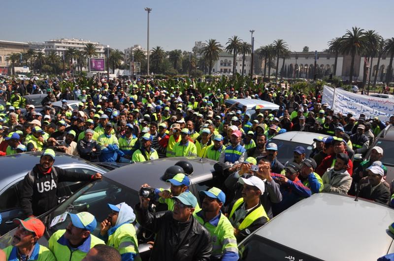 نجاح كبير للوقفة الاحتجاجية لعمال وموظفي الجماعات الحضرية  وأطر وتقنيي شركات النظافة