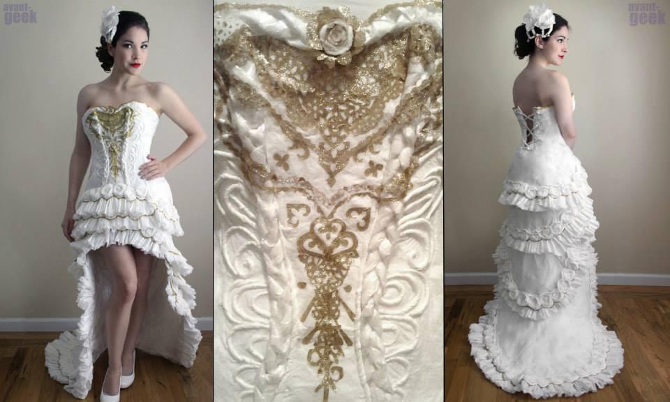 """لا يُصدّق """"  فستان العروس """" من ورق التواليت"""